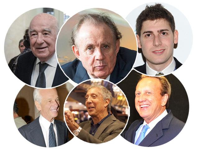 Da esq. para a dir. e de cima para baixo: Joseph Safra, Alexandre Grendene Bartelle, Eduardo Saverin, Jorge Paulo Lemann, Abilio Diniz e Edson de Godoy Bueno