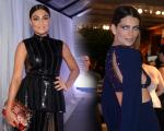 Juliana Paes e Fernanda Motta, anes de ter o vestido desabotoado sem querer por Ailton Graça