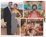 Em sentido horário: Jessica Alba e o marido, Cash Warren, a capela onde foi realizada a cerimônia, e a atriz com com a noiva, Ayla Eloy, e a amiga Tracy Dawnhall Créditos: Reprodução Instagram