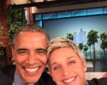 A selfie de Ellen comm Obama