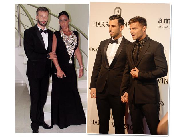 Os casais da noite: Ana Paola Diniz e Pedri Bissi e Jwan Yosef  e Ricky Martin