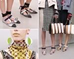Sapatilha futurista, brincos de paetês e bolsa estruturada da Prada