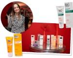 Fernanda Monfrinatti e alguns produtos dermocosméticos disponibilizados pela ROC durante o evento