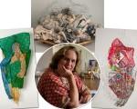 Helena Carvalhosa e suas esculturas feitas com tecidos coloridos, armações e telas de aço