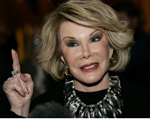 Comedian Joan Rivers talks to reporters as she arrives for a gala honoring the late stand-up comedian George Carlin, the 11th Annual Mark Twain Prize for American Humor recipient, at the Kennedy Center in Washington November 10, 2008.    REUTERS/Molly Riley (UNITED STATES) - RTXAGWE