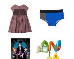 Em sentido horário, sunga Green, brinquedo Chicco, livro Livraria Cultura e vestido Bonpoint