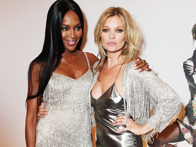 LONDON, ENGLAND - APRIL 29:  Naomi Campbell (L) and Kate Moss attend a private dinner celebrating the Global Launch of the 'Kate Moss for TopShop Collection' at The Connaught Hotel on April 29, 2014 in London, England.  (Photo by David M. Benett/Getty Images)