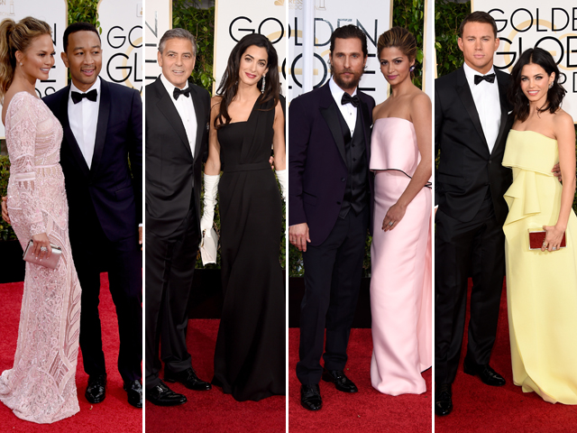 Chrissy Teigen de Zuhair Murad e John Legend; Amal Clooney de Dior e George Clooney, Camila Alves de Monique Lhuillier e Matthew McConaughey; Jenna Dewan e Channing Tatum || Créditos: Getty Images