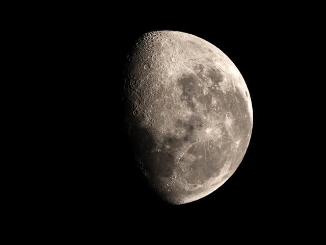 The moon at about 3/4 phase