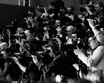 PARIS, FRANCE - MARCH 08:  (EDITORS NOTE: Image has been converted to black and white)  Photographers are pictured shooting the runway at the Chloe show as part of Paris Fashion Week Womenswear Fall/Winter 2015/2016 on March 8, 2015 in Paris, France.  (Photo by Andreas Rentz/Getty Images)