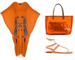 Caftan Adriana Degreas, bolsa de praia SUB e rasteira Valentino