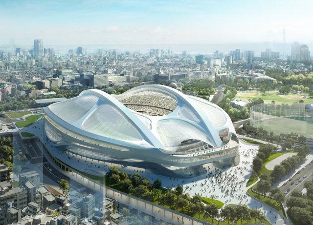 O projeto inicial do estádio dos Jogos Olímpicos de Tóquio 2020