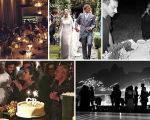Em cima, o jantar de Alexandre Birman e Giovanni Bianco, o casamento de Beatrice Borromeo e Pierre Casiraghi e Riccardo Tisci apagando as velas de seu bolo de aniversário. Abaixo, a festa de 50 anos de Giovanni Bianco e o cenário da festa de 15 anos do Glamurama
