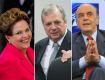 A presidente Dilma Rousseff, os senadores tucanos Tasso Jereissati e José Serra || Créditos:  Getty Images/Agência Brasil