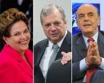 A presidente Dilma Rousseff, os senadores tucanos Tasso Jereissati e José Serra