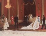 Diana arruma o vestido para a foto oficial do casamento com o príncipe Charles