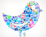 Bird on Modern Technology & Communication Icon Pattern