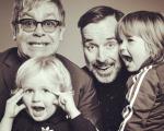 Elton John, David Furnish e os filhos