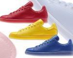 O pack masculino Stan Smith Adicolor, apresenta três modelos vibrantes: amarelo, azul e vermelho