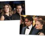 Acima Johnny Deep e Amber Heard, abaixo o ator com Vanessa Poradis, com quem foi casado por 14 anos