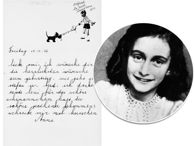 """A imagem acima, fornecida pela Record, é inédita e estará no """"Complete works"""". Trata-se de uma carta escrita por Anne Frank para a avó em 1936. Créditos: Divulgação/Getty Images"""
