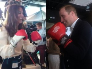 Kate Middleton e príncipe William vão para o ringue em evento em Londres