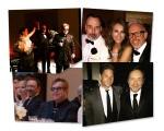 Maria Aleida e Andrea Bocelli, David Furnish, Elizabeth Harley e Patrick Cox. Abaixo Elton John na mesa com Kevin Spacey ; ao lado, o ator com o emabixaador da Gret Goose, Joe McCanta