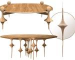 Mesa de centro, espelho de parede, mesa de jantar