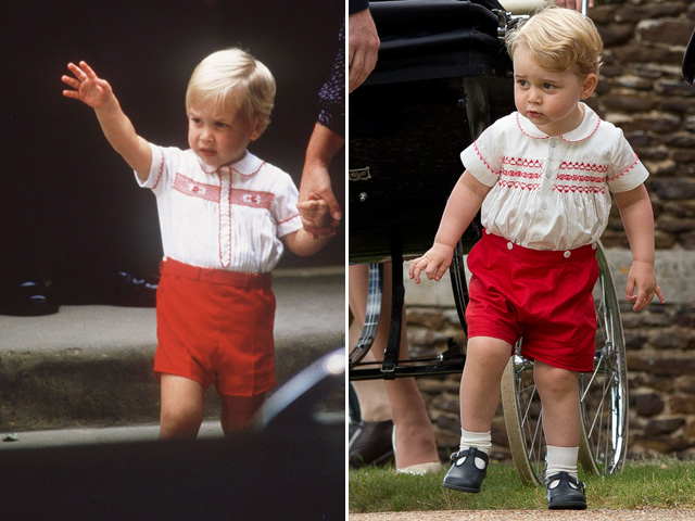 Príncipe William em 1984 e Príncipe George em 2015