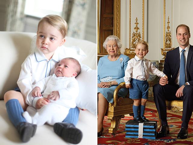 Princípe George em dois momentos com o mesmo look