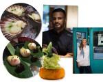 Os chefs Jorge Muñoz e Marisabel Woodman; nos detalhes, algumas das criações para o jantar especial