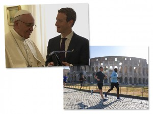 De corrida no Coliseu a bate-papo com o Papa, os passos de Mark Zuckerberg pela Itália