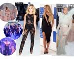 À esquerda, cliques da apresentação de Rihanna. À direita, looks de Hailey Baldwin, Britney Spears e Beyoncé