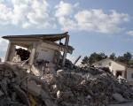 Edifícios destruídos em Amatrice na Itália após ser atingida por um terremoto
