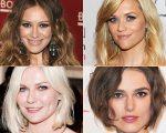 Hilary Duff – oval; Reese Witherspoon – coração; Kirsten Dunst – redondo; Keira Knightley - quadrado