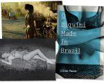 """Um dos cliques de Bob Wolfenson; a capa do livro """"O Biquíni Made in Brazil"""" e Carmen Verônica com outras rainhas do rebolado"""
