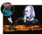 Adele durante show em Miami, e Hillary Clinton