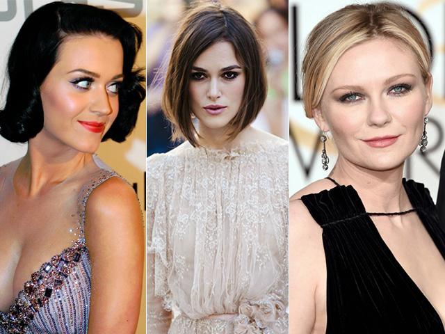 Referências de sobrancelhas e cabelos em harmonia: Katy Perry tem o rosto oval, Keira Knightley quadrado e Kirsten Dunst redondo