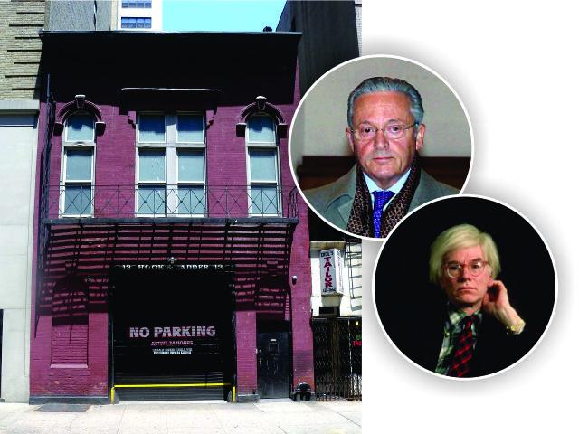 O estúdio, Guy Wildenstein (no topo) e Andy Warhol