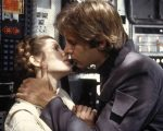 Carrie Fisher e Harrison Ford durante as gravações do filme