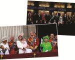 Atores da peça inglesa de 2014 (no topo), e a família real