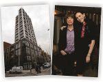 O prédio de L'Wren, e a estilista com Mick Jagger