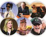 O ano em PODER: em sentido horário, Prince (no topo), Grendene, Gisele e Lemann, Knight, Lisboa e Holmes