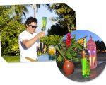 Iquinho Facchinni no carrinho-bar criado pela cachaça premium Leblon e detalhe da garrafa – drinks especiais serão servidos na Casa Glamurama Trancoso
