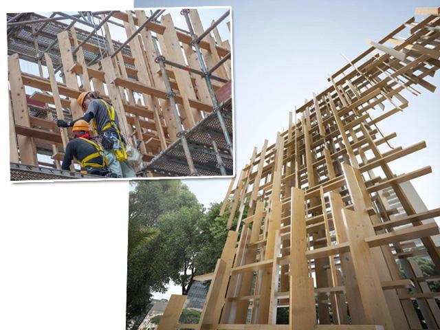Cinco artesãos japoneses vieram até São Paulo para montar a fachada da Japan House São Paulo, que abre as portas em maio na Avenida Paulista