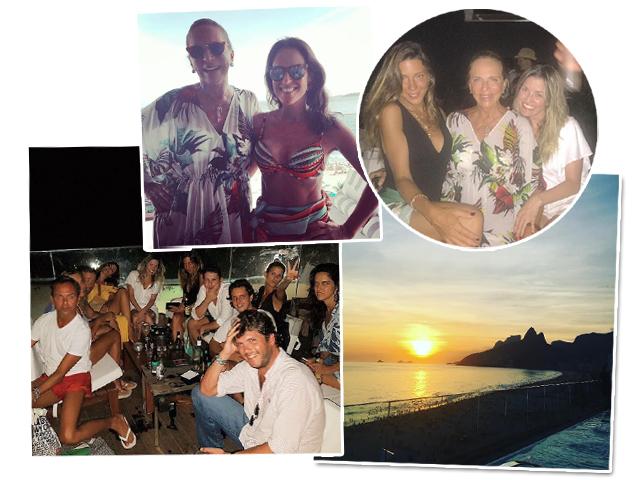 Lenny com Paula Bezerra de Mello; a aniversariante com Chris Corchs e a filha Bel Niemayer; os convidados by the pool e o pôr do sol de tirar o fôlego