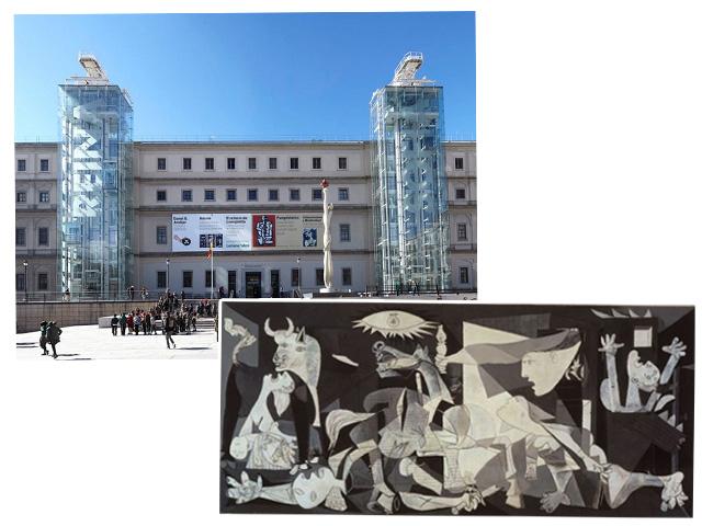 """Fachada do Museu Nacional Centro de Arte Reina Sofia, em Madri e detalhe de """"Guernica"""", de Pablo Picasso"""