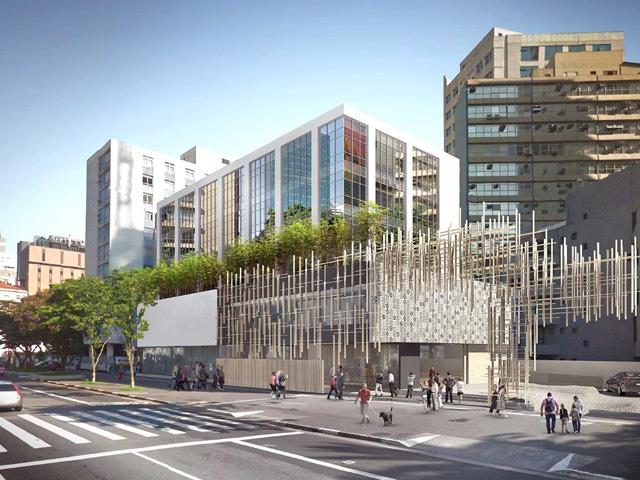Projeto de como será a fachada da Japan House São Paulo quando as obras forem finalizadas