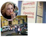 Julia Roberts e a pizzaria em Nápoles (foto de baixo) e a filial de Londres