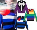 Detalhe dos três suéteres criados por Vetements e Comme des Garçons